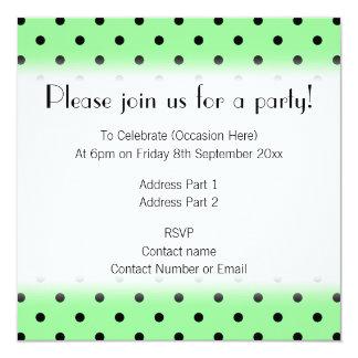 Green and Black Polka Dot Pattern. 13 Cm X 13 Cm Square Invitation Card