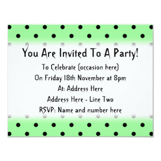 Green and Black Polka Dot Pattern. 11 Cm X 14 Cm Invitation Card