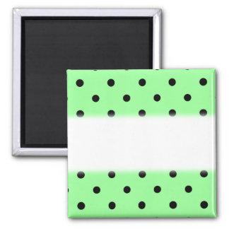 Green and Black Polka Dot Pattern. Square Magnet