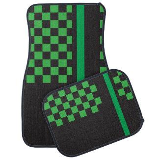 Green and Black Racing Stripe | Monogram Car Mat
