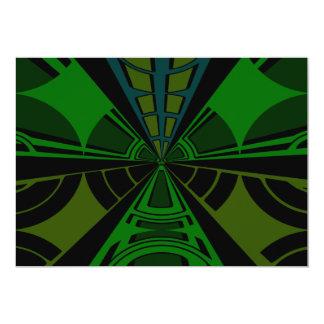 Green and black rectangle design 13 cm x 18 cm invitation card