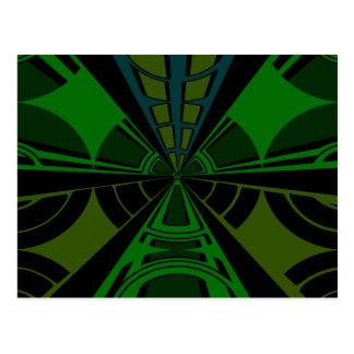 Green and black rectangle design postcard