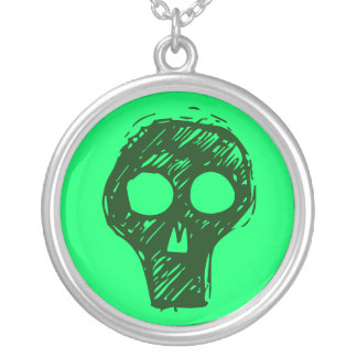 Green and Black Skull Necklace