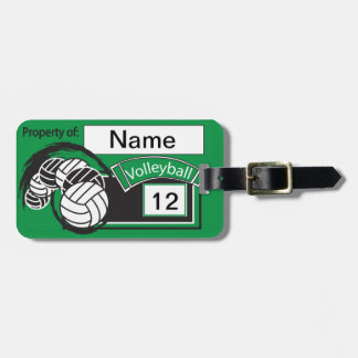 Green and Black Sporty Volleyball Luggage Tag