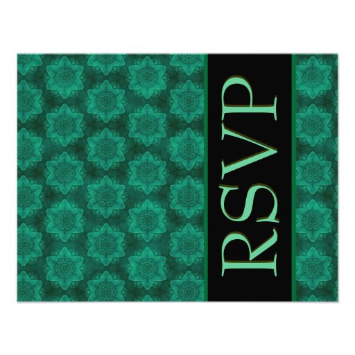 Green and Black Star Damask Wedding RSVP Personalized Announcements