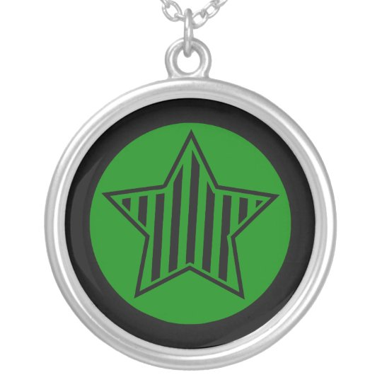Green and Black Striped Star Necklace