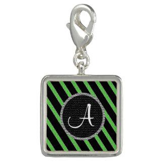 Green and black stripes monogram charm