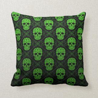 Green and Black Sugar Skull Pattern Cushion