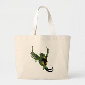Green and Black Swallow Tote Bags