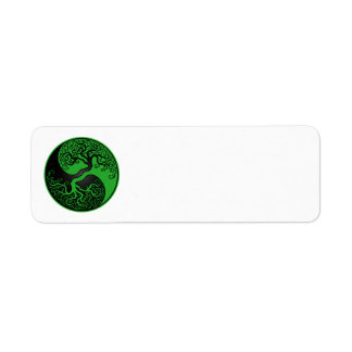 Green and Black Tree of Life Yin Yang Return Address Label