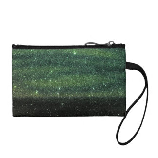 Green and Black Trendy Gradient Glitter Coin Purse