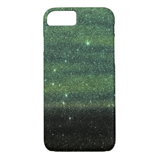 Green and Black Trendy Gradient Glitter iPhone 8/7 Case