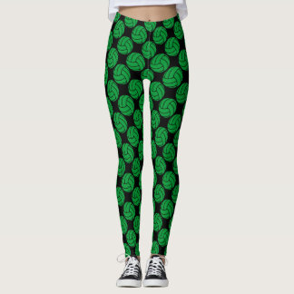 Green and Black Volleyball Leggings Pants