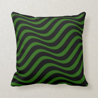 Green and Black Wave Pattern Pillow Throw Cushions