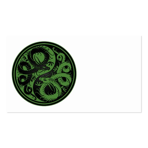 Green and Black Yin Yang Chinese Dragons Business Cards