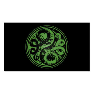 Green and Black Yin Yang Chinese Dragons Business Card Templates