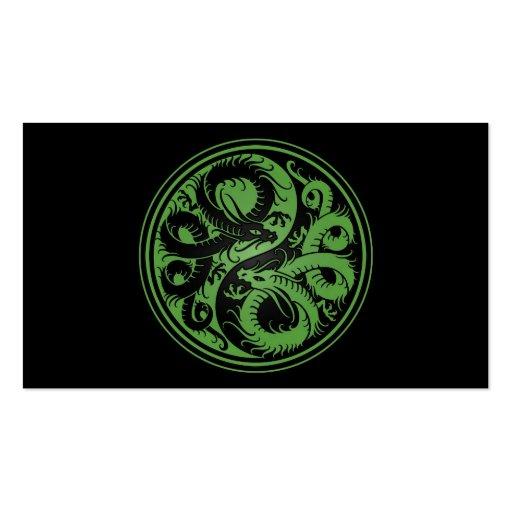 Green and Black Yin Yang Chinese Dragons Business Card Templates