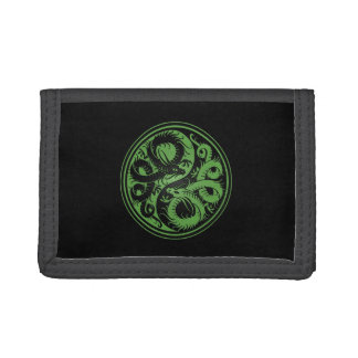 Green and Black Yin Yang Chinese Dragons Trifold Wallet