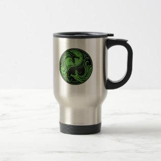 Green and Black Yin Yang Dragons Coffee Mug