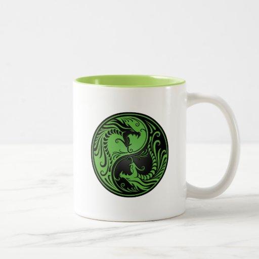 Green and Black Yin Yang Dragons Mug