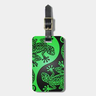 Green and Black Yin Yang Geckos Luggage Tag