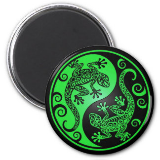 Green and Black Yin Yang Geckos Magnet