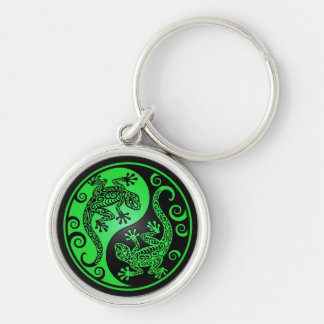 Green and Black Yin Yang Geckos Silver-Colored Round Key Ring