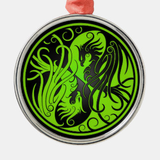 Green and Black Yin Yang Phoenix Christmas Ornament