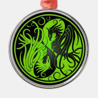 Green and Black Yin Yang Phoenix Christmas Ornament