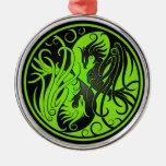 Green and Black Yin Yang Phoenix Christmas Tree Ornament