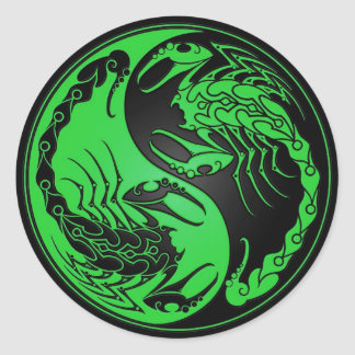 Green and Black Yin Yang Scorpions Classic Round Sticker