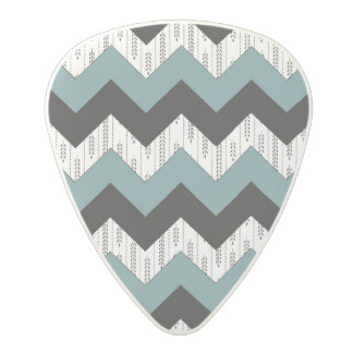 Green and black zigzag pattern polycarbonate guitar pick