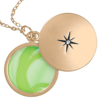 Green and Blue Abstract Design Round Locket Necklace