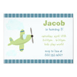 Green and Blue Aeroplane Birthday Party Personalized Invitation