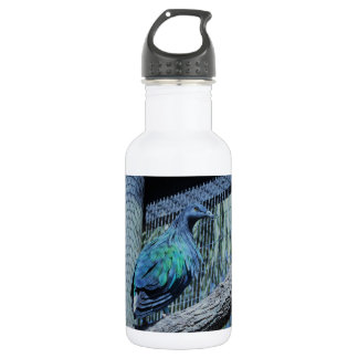 Green and blue bird water bottle