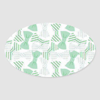 Green and Blue Bow Tie Design BOWTIES Oval Sticker