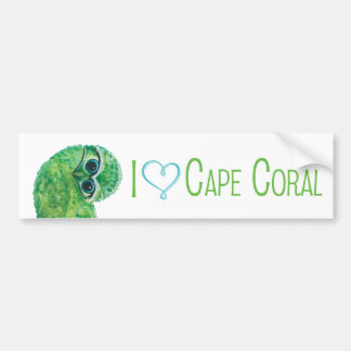 Green and Blue Burrowing Owl Bumper Sticker