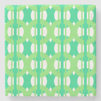 Green and Blue Chain Link Pattern Stone Coaster