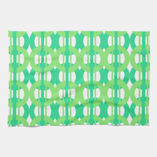 Green and Blue Chain Link Pattern Tea Towel