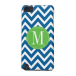 Green and Blue Chevron Custom Monogram iPod Touch 5G Case