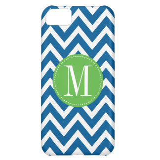 Green and Blue Chevron Custom Monogram iPhone 5C Case