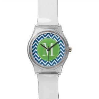 Green and Blue Chevron Custom Monogram Watch