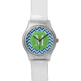 Green and Blue Chevron Custom Monogram Wrist Watch