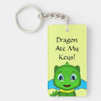 Green And Blue Chibi Dragon Double-Sided Rectangular Acrylic Key Ring
