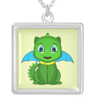 Green And Blue Chibi Dragon Custom Necklace