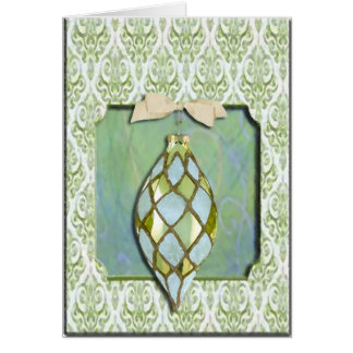 Green and Blue Christmas Tree Ornament Greeting Card
