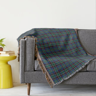 Green and Blue Clan Stevenson Scottish Plaid Throw Blanket