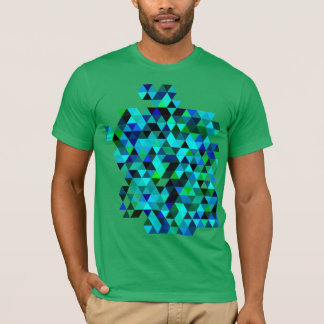 Green and Blue Color Triangle Pattern T-Shirt