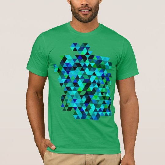 Green and Blue Colour Triangle Pattern T-Shirt