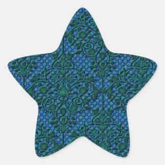 Green and Blue Damask Star Sticker
